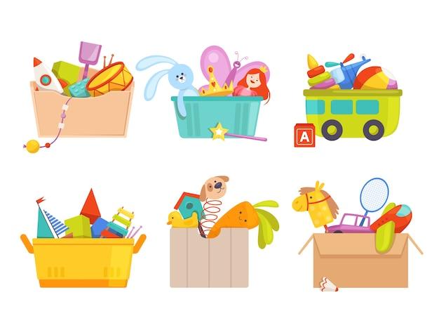 Spielzeugbox. kinderspielzeugautos raketenfußballbärengeschenke für kinderpaketsammlung