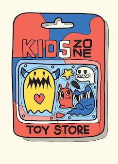 Spielzeugkoffer es gibt viele spielzeuge im inneren, niedliches monsterspielzeug