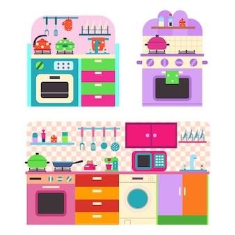 Spielzeugküche mit utensilien und haushaltsgeräten für kinder