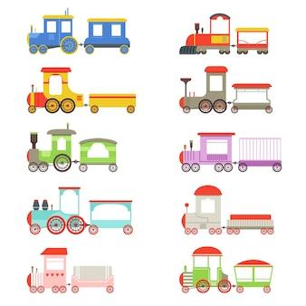 Spielzeuglokomotiven und waggons gesetzt