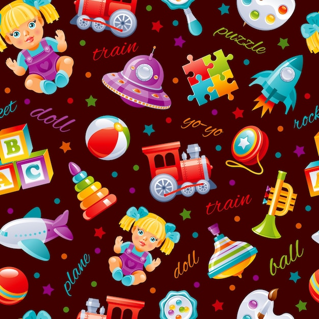 Spielzeugmuster-cartoon-tapete