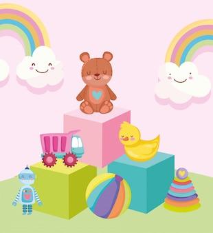 Spielzeugobjekt für kleine kinder, zum der karikatur zu spielen, tragen enten-lkw-ballroboter und pyramide auf blockillustration