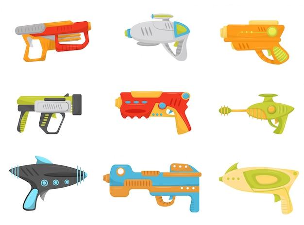 Spielzeugpistolen-set, waffenpistolen und blaster für kinderspiel illustration auf einem weißen hintergrund