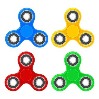 Spielzeugspinner einstellen. flache farbige darstellung. isoliert auf weiss