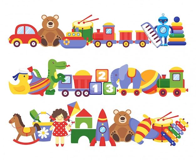 Spielzeugstapel. gruppen von kindern plastikspiel kinderspielzeug elefant teddybär zug raketenschiff puppe dino