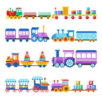 Spielzeugzug mit kind spielt flache ikonen des vektors für kinderdesign