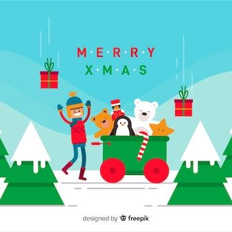 Spielzeugzug weihnachtshintergrund
