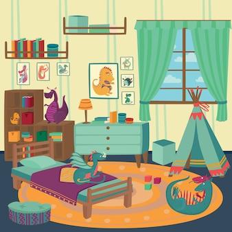 Spielzimmer für jungen mit drachenspielzeug, gemütliches kinderinterieur mit niedlichen spielzeugen und möbeln illustration