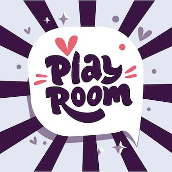 Spielzimmer-logo auf sprechblase mit strahlen. hand gezeichnete kinderbeschriftungszusammensetzung