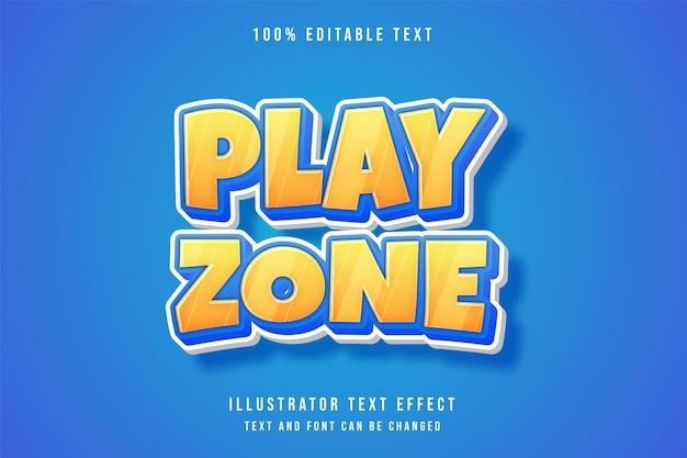 Spielzone, 3d bearbeitbarer texteffekt gelbe abstufung blau niedlichen comic-stil