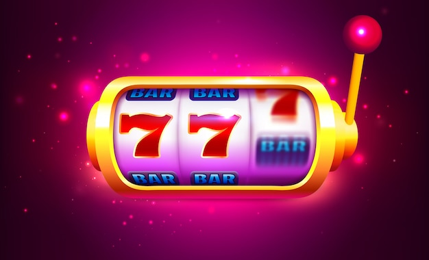 Spin und win slot machine mit icons. online casino banner