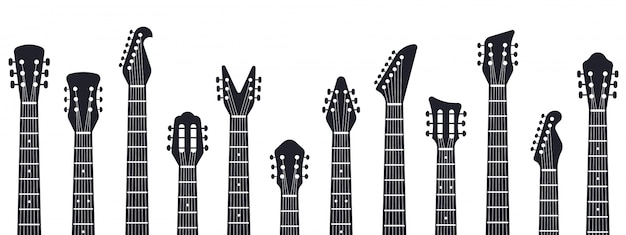 Spindelstock für gitarren. rockmusik gitarrenhälse silhouette. illustration von elektrischen und akustischen musikgitarren. akustische unterhaltung, instrumentengitarre, musikausrüstung