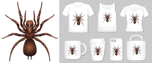 Spinne auf verschiedenen produktvorlagen