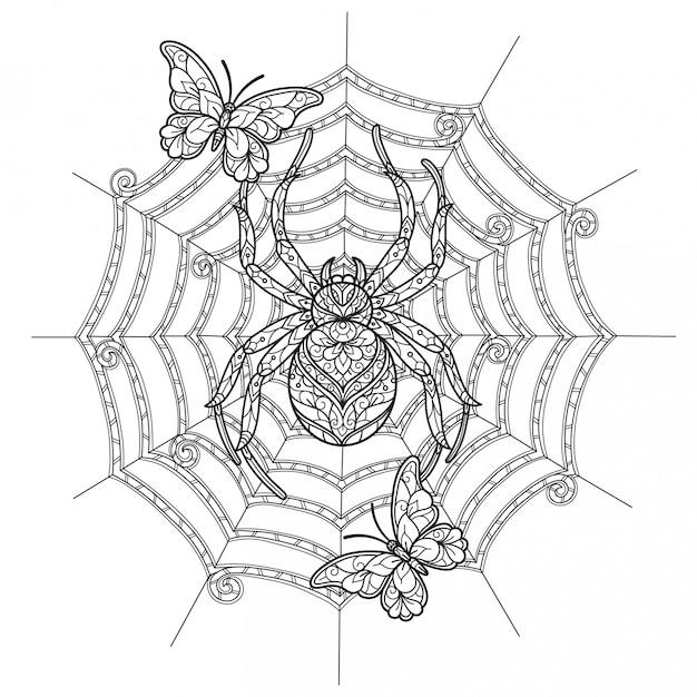 Spinne und schmetterling. hand gezeichnete skizzenillustration für malbuch für erwachsene.