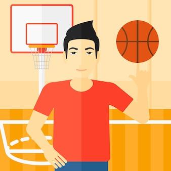 Spinnende kugel des basketball-spielers