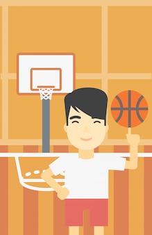 Spinnende kugel des basketball-spielers.