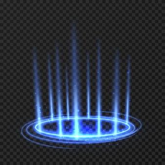 Spinnender kreis der energie mit blauen glühenden strahlen. fantasy-portal, magisch gewirbelter teleport auf dem boden