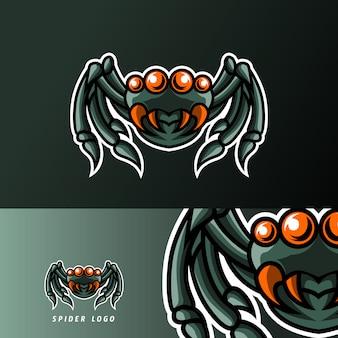Spinnenmaskottchensport-spielesport-logoschablone für ausläuferteamverein