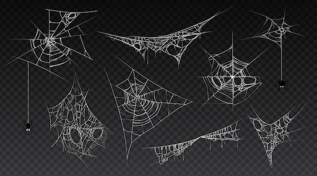 Spinnennetz mit hängenden spinneninsekten isolierte reihe von spinnweben alt und beängstigend dunkel und vintage