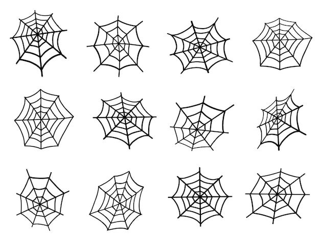 Spinnennetz-set-illustration