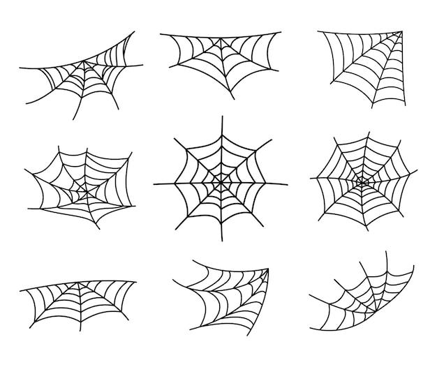 Spinnennetz-silhouette, die für halloween-bannerdekorationen hängt. auf dem hintergrund isoliert