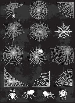 Spinnennetz silhouette set