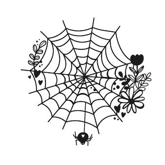 Spinnennetz-silhouette vektor-halloween-clipart spinnennetz mit blumen
