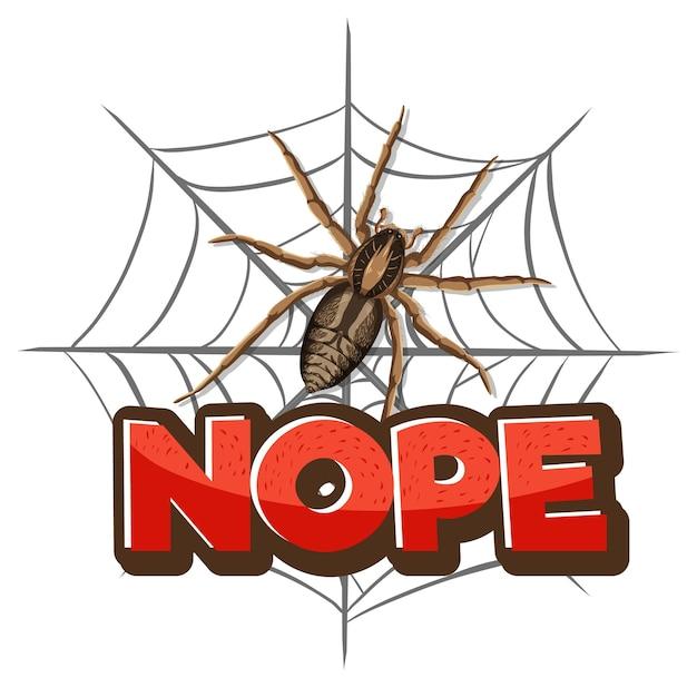 Spinnenzeichentrickfilm-figur mit nope-schriftartfahne lokalisiert