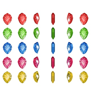 Spinning gem sprites 6 farben illustration eines rotierenden edelsteins