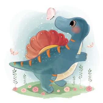 Spinosaurier spielen mit kleinen vögeln
