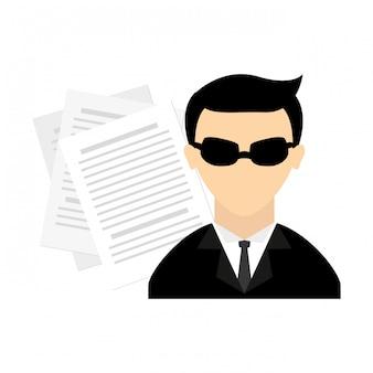 Spion piktogramm avatar charakter