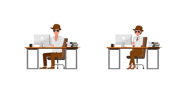 Spionage-geheimagent-charaktervektordesign. präsentation in verschiedenen aktionen. nein13