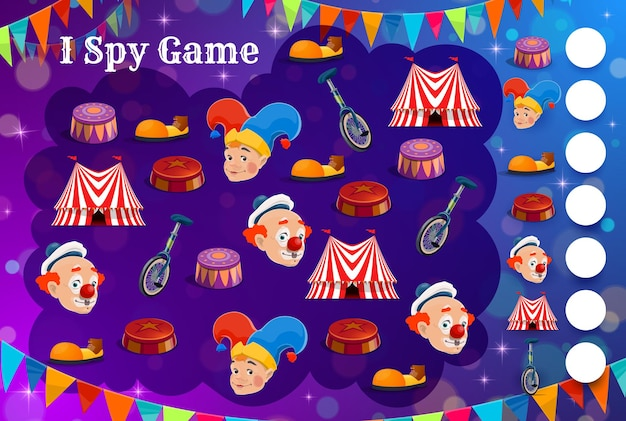 Spionagespiel für kinder, shapito-zirkusfiguren und gegenstände