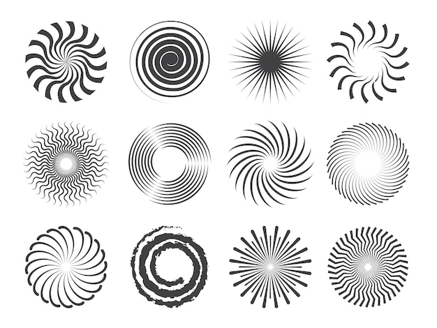 Spiral design. kreise wirbeln und stilisierte abstrakte whirlpoolformen isoliert