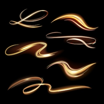 Spiral leuchtende spur. energie goldene flamme, glühen transparente spuren, spiralförmige lichteffektwellen und schönes lichtwegillustrationsset. lebendige magische kraft gelbe schwänze