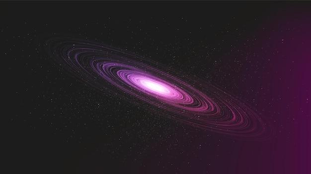 Spiralviolettes schwarzes loch auf galaxienhintergrund mit milchstraßen-spirale, universum und sternenkonzept
