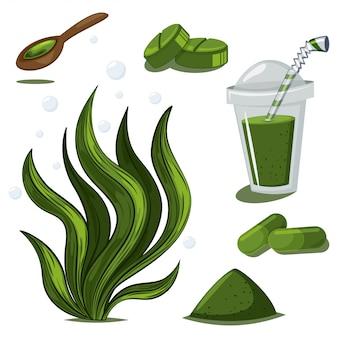 Spirulina-pflanze, pulver, pillen, kapseln und smoothies