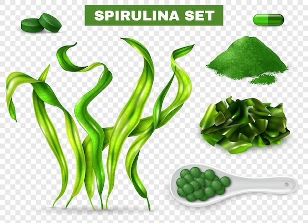 Spirulina realistisches set