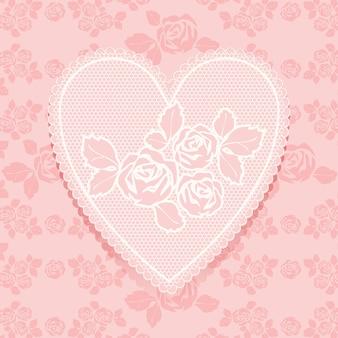 Spitze rosa in herzform