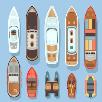 Spitzenvogelperspektiveboot und ozean versendet vektorsatz. seeboot und transport für die reise
