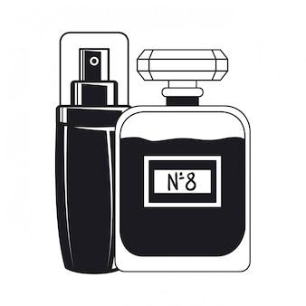 Splash und fragance flaschen bilden symbol