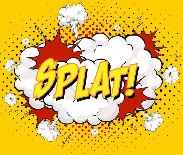 Splat-text auf comic-wolkenexplosion auf gelbem hintergrund