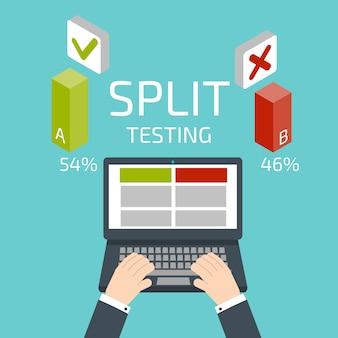 Split-test. hände und notebook