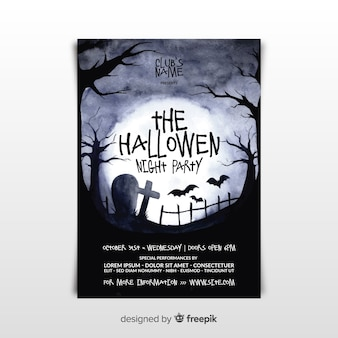 Spooky aquarell halloween party poster