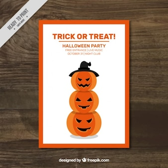 Spooky halloween-kürbisse flyer