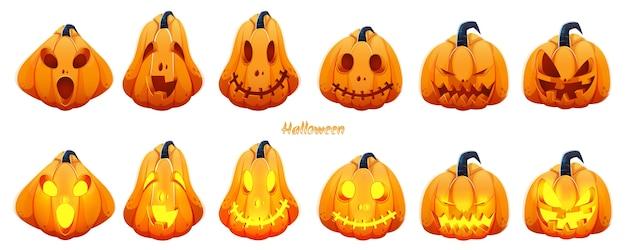Spooky jack-o-lantern set auf weißem hintergrund für halloween-feier.