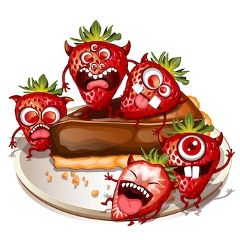 Spooky monster fruits gruseliger erdbeerkuchen