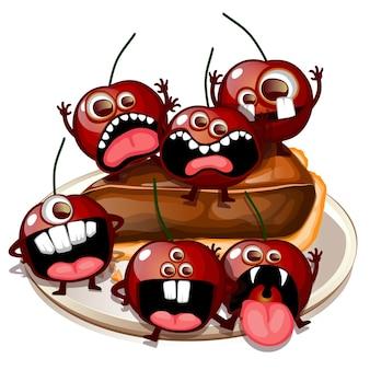 Spooky monster fruits gruseliger kirschkuchen