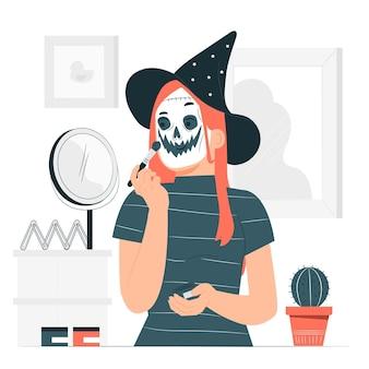 Spooky selbst make-up konzept illustration