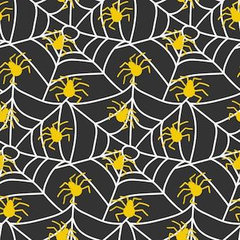 Spooky spinnennetz und gelbe spinnen nahtlose muster spiderweb halloween endloser wiederholter druck